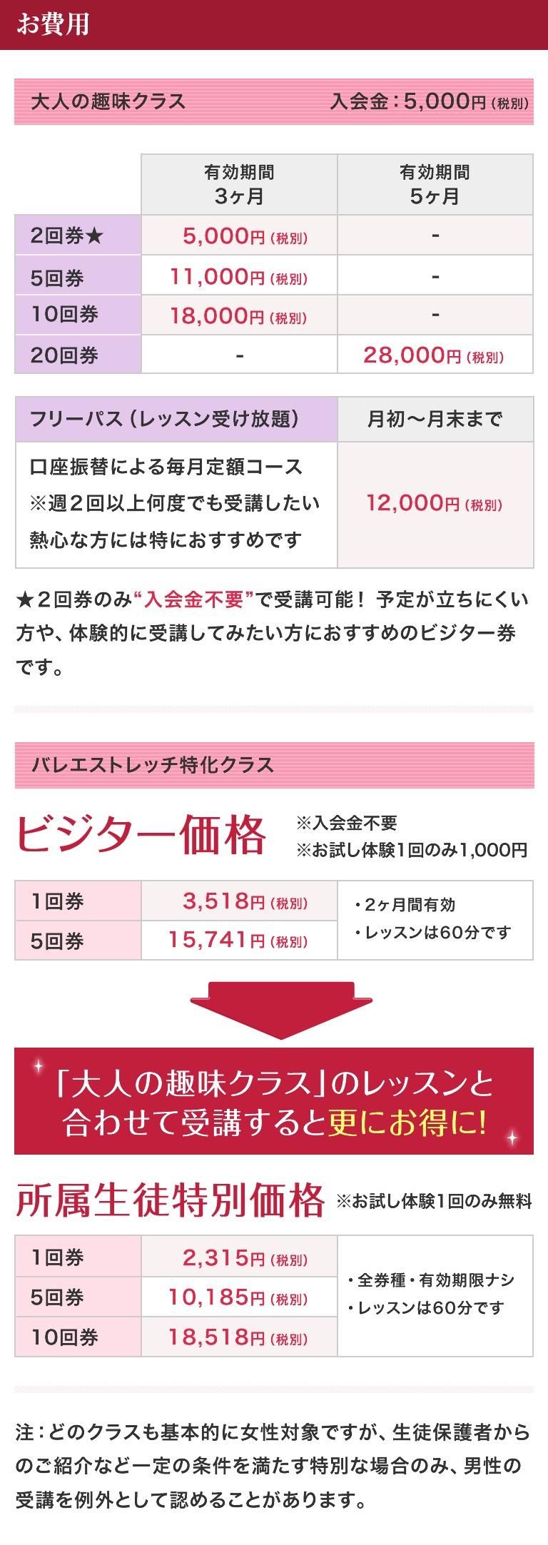 本田道子バレエスクール 料金案内